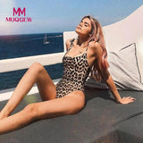 Womens One Piece Swimsuit Swimwear Leopard Printed Beach Bikini Bodysuit O Neck Thong Bathing Suit Monokini Beachwear