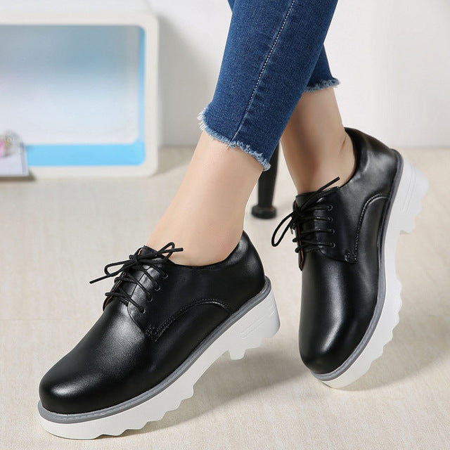 52a2346df0a Womens Platform Oxfords Genuine Leather Lace Up Flats Shoes – Lily ...