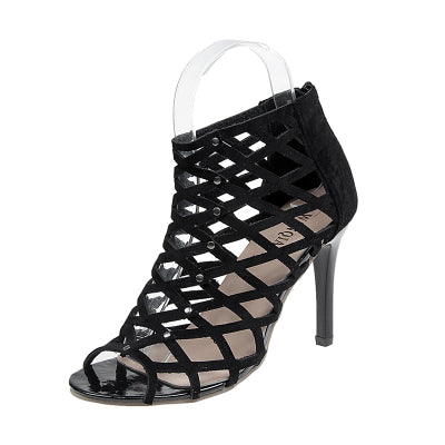 Womens Summer Sexy Peep Toe High-heeled sandals Mesh style Rivet Gladiator Shoes