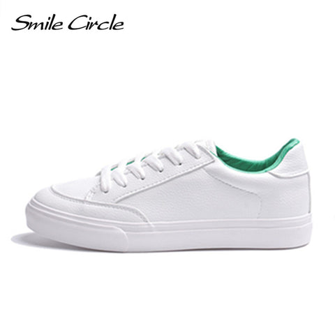 Womens Spring White Sneakers Comfortably Lace-up Shoes