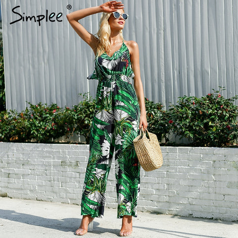 Womens Ruffle Leaf print sexy jumpsuit Boho green rompers jumpsuit