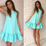 Womens Summer Fashion Ruffle A-line Sleeveless O-neck Loose Big Size Mini Short Sexy Dress