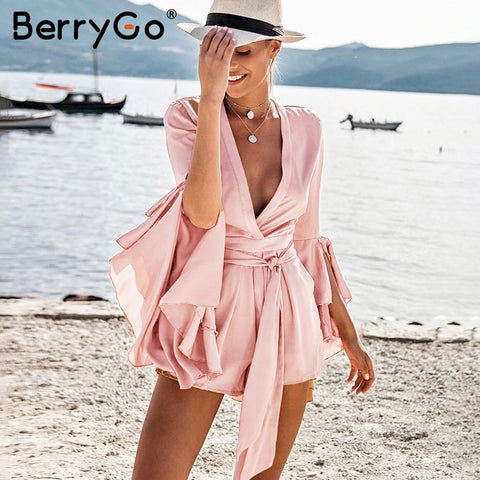 Womens Sexy v neck flare long sleeve playsuit High waist tie up pleated satin short romper