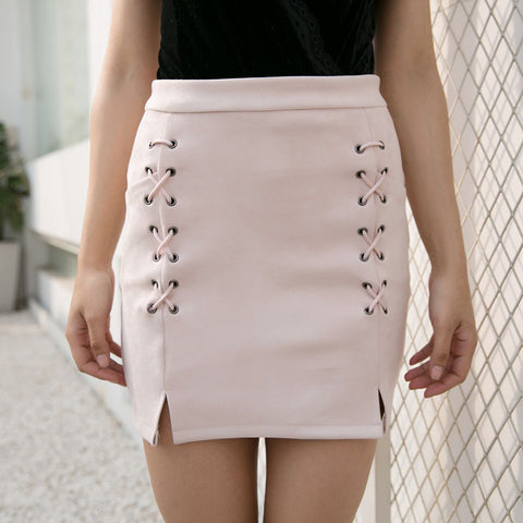 Womens High Waist Suede Leather Solid Lace up Vintage Preppy Casual Mini Skirt