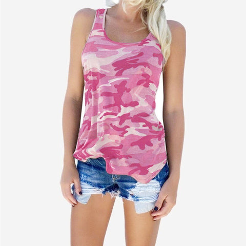 Womens Summer Fashion Style Camouflage Tank Top