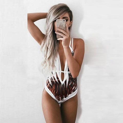 b3c85ea70cf3c Womens Leaf swimwear one piece monokini push up stripe swimsuit ...