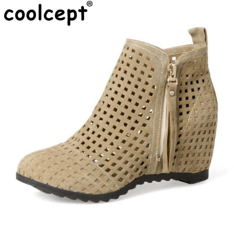 Womens Ankle Summer Height Inceasing Openwork Boots