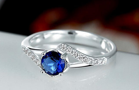 Silver Plated Blue Gem Fashion Ring