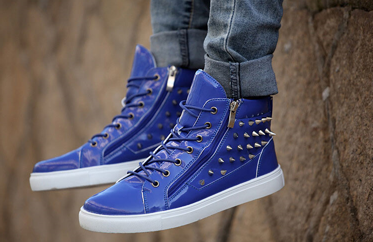 f011d84a73a Mens Cool Spiked High-Top Sneakers – Lily Dress Boutique