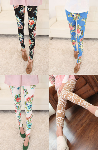 Womens Lovely Flower Leggings