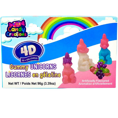 4D Gummy Unicorns 96g - 24CT / 24 Pack | Bulk kids candy - Novelty unicorn gummies - Canadian candies - Canada