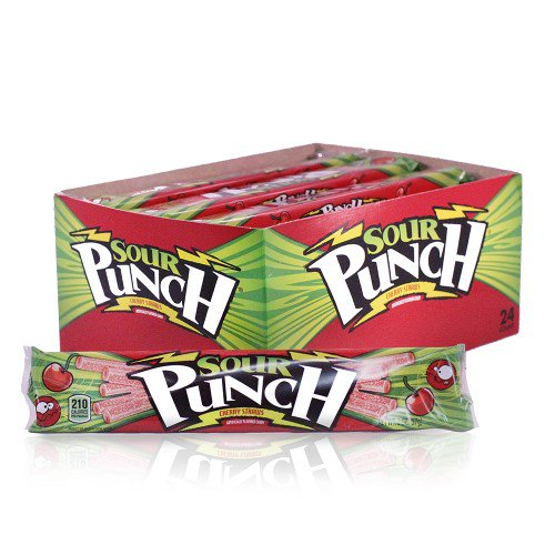 Sour Punch Cherry Licorice Straws 2oz - 24CT