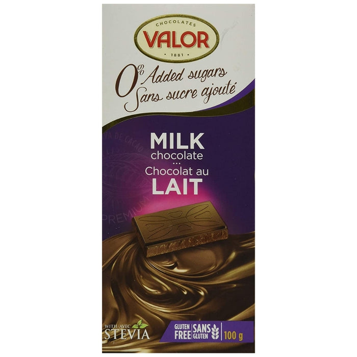 Valor No Sugar Added Milk Chocolate 100g - 17CT | iWholesaleCandy.ca