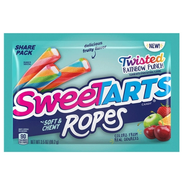 Sweetarts Soft & Chewy Ropes Twisted Rainbow Punch 3.5oz - 12CT