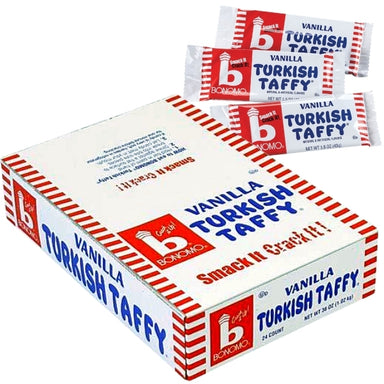 Bonomo Turkish Taffy vanilla 1.5oz - 24CT Bulk Pack  Imported, Shipped, & Delivered: International, World Wide Shipping, delivery Canada, GTA, Mississauga, Brampton, etc. Novelty confectionery wholesale online candy store: Buy exclusive, popular, top-rated, special edition, limited edition, premium snacks, treats, goods, gifts, gift sets, gift ideas, and more. | turkey European Europe sweets candies