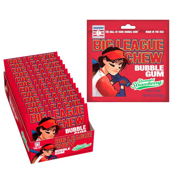 Big League Chew Bubble Gum | Slammin' Strawberry - 12 CT  Imported, Shipped, & Delivered: International, World Wide Shipping, delivery Canada, GTA, Mississauga, Brampton, etc. Novelty confectionery wholesale online candy store: Buy exclusive, popular, top-rated, special edition, limited edition, premium snacks, treats, goods, gifts, gift sets, gift ideas, and more. |  bulk pack