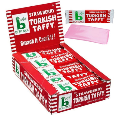 Bonomo Turkish Taffy strawberry 1.5oz - 24CT Bulk Pack Imported, Shipped, & Delivered: International, World Wide Shipping, delivery Canada, GTA, Mississauga, Brampton, etc. Novelty confectionery wholesale online candy store: Buy exclusive, popular, top-rated, special edition, limited edition, premium snacks, treats, goods, gifts, gift sets, gift ideas, and more. | European Europe turkey turkish