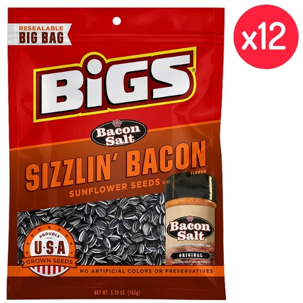 BIGS - Stubb's Sizzlin' Bacon Sunflower Seeds 5.35oz - 12CT