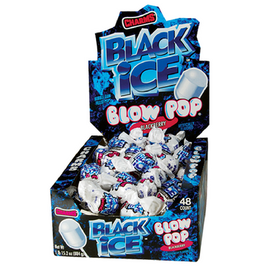 Charms Blow Pop Black Ice Bubblegum Lollipops Retro Candy 48CT