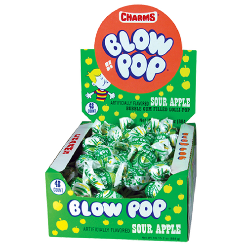 Charms Blow Pop Sour Apple Lollipops filled with Bubblegum 48ct
