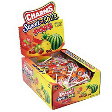 Charms Blow Pop Sweet N Sour Lollipops Retro Candy 48 CT