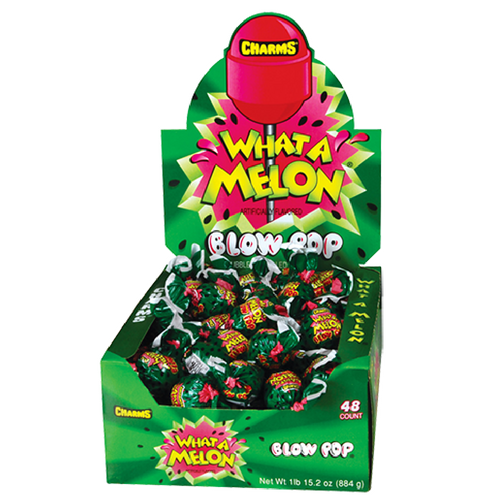 Charms Blow Pop What A Melon Bubblegum Lollipops Retro Candy 48CT