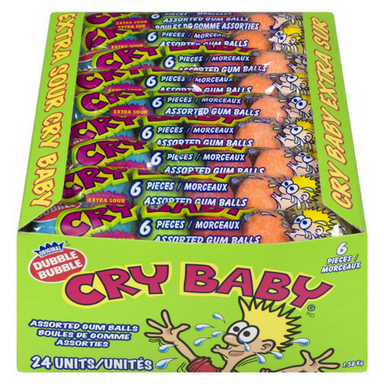 Cry Baby Bubble Gum 6 Piece Tube Sour Candy