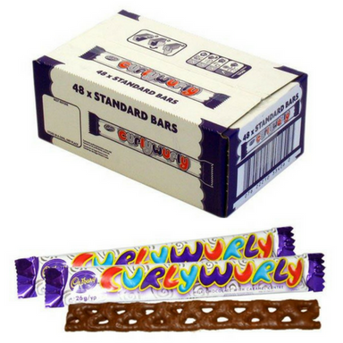 Cadbury Curly Wurly Caramel Chocolate Bars 48 Count-British Candy