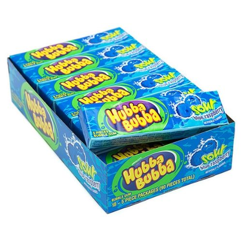 Hubba Bubba Sour Blue Raspberry Bubble Gum-18 CT