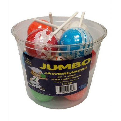 Jumbo Jawbreakers on a Stick with Bubblegum-12 CT
