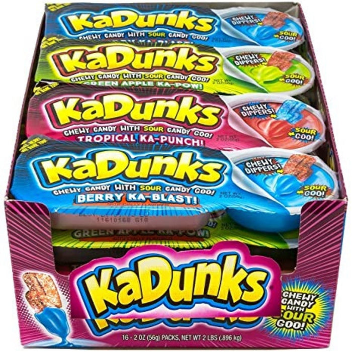 KaDunks Sour Gummy Candy Dip 56g - 34CT  Chewy Gummies with Sour Goo Dip