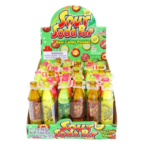 Sour Soda Pop Bottles Sour Candy Powder 4-Pack Wholesale Candy