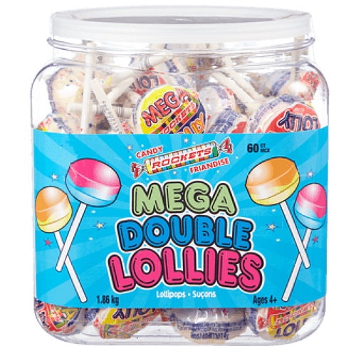 Rockets Candy Mega Double Lollies Canadian Candy 60 CT