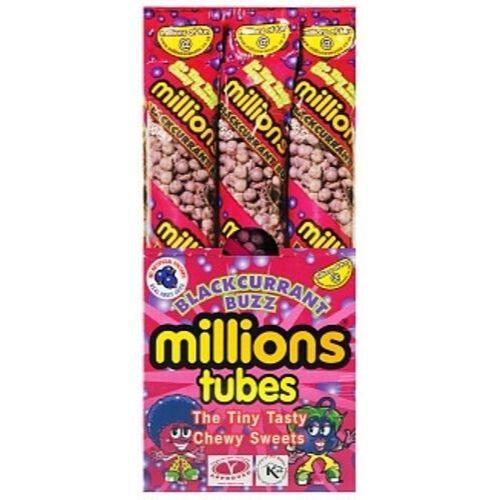 Millions Blackcurrant Buzz Tubes British Candy-12 CT
