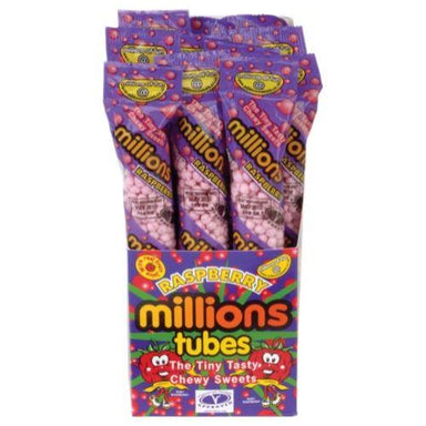 Millions Raspberry Tubes British Candy-12 Count