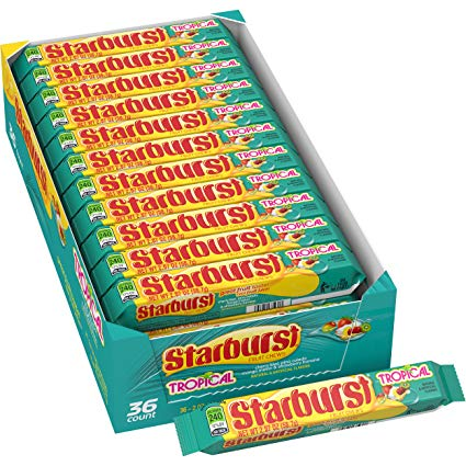Starburst Fruit Chews Tropical Retro Candy-36 CT