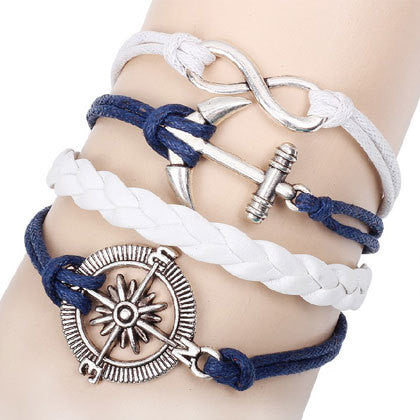 Womens Charm Leather Bracelet