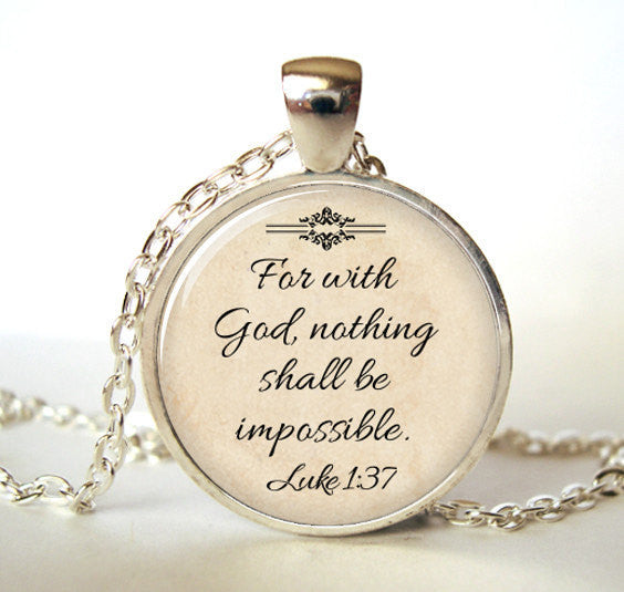 "Womens ""For With God Nothing is Impossible"" Pendant & Chain"