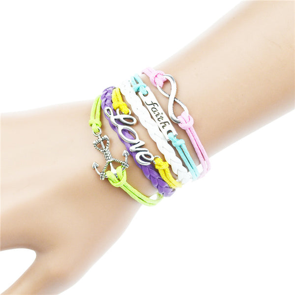 "Women ""Faith Hope Believe"" Charm Bracelet Woven Leather Bracelet & Bangle"