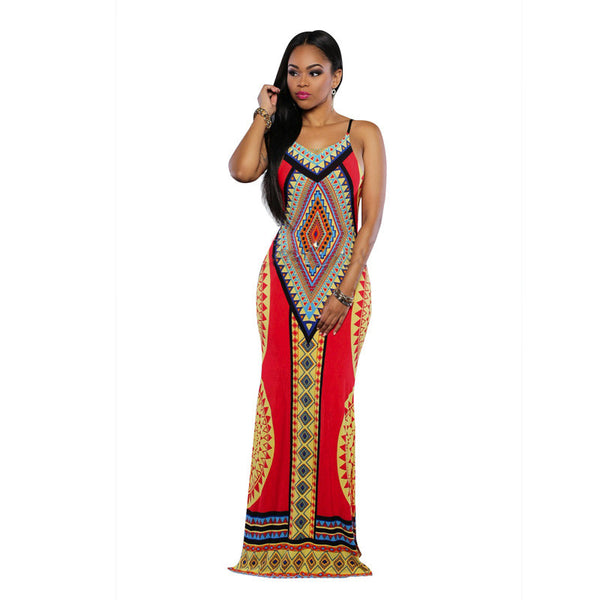 Womens Dashiki Maxi Backless Long Sundress