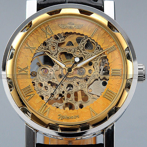 Classic Mens Gold Dial Black Leather Watch