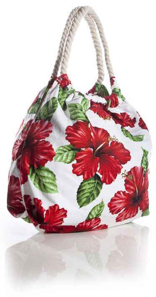 White Tote Handbag Tropical Flirt Red Hibiscus