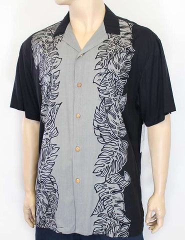 Aloha Black-Gray Shirt - Island Monstera Panel