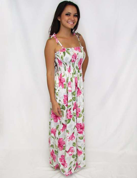 White Long Hawaiian Dress - Pi'la Hooka'ni