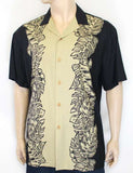 Hawaiian Black Tan Shirt - Island Monstera Panel