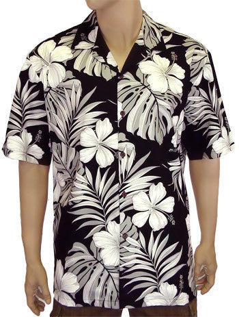 Hawaiian Cotton Shirt - Palekaiko Black