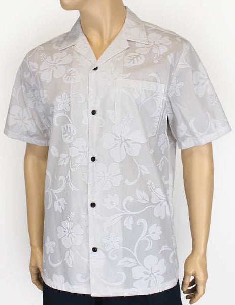Hawaiian White Hibiscus Shirt - Kaneohe