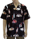Printed Beach Shirt - Cars and Surf Design
