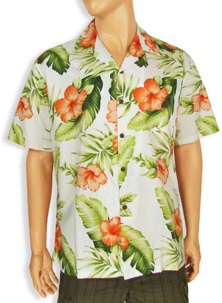 Cotton Men's Shirt - Hibiscus Flowers Cocktail