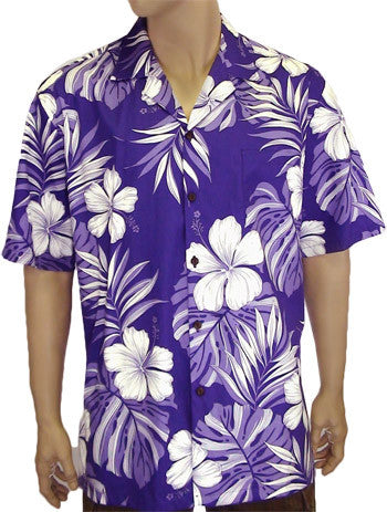 Men Aloha Shirt - Purple Palekaiko